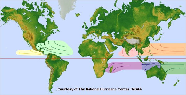 Where do most hurricanes form?