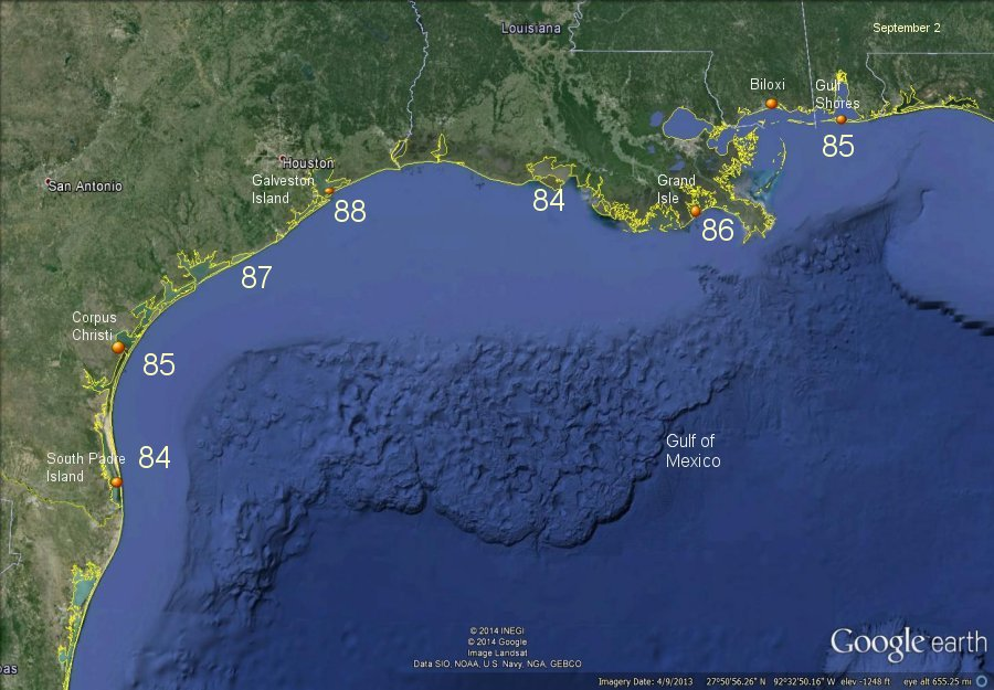 Western / Central Gulf of Mexico Water Temps
